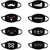 8PCS Unisex Men Women Cartoon 3D Face Covers,Reusable & Washable,Face Shield with Adjustable Earband,Indoors and Outdoors (B)