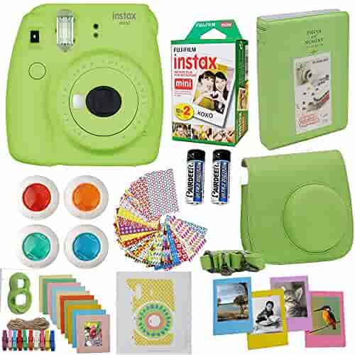 Fujifilm Instax Mini 9 Instant Camera Lime Green + Fuji Instax Film Twin Pack (20PK) + Camera Case + Frames + Photo Album + 4 Color Filters And More Top Accessories Bundle