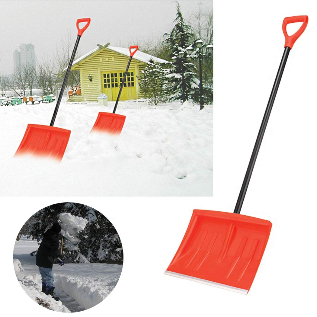 15.8'' Snow Scoop Shovel with Steel Wide Shovel Head and Plastic Handle Lightweight and Extension 122 cm Steel Handle Duty Snow Shovel for Courtyard & Road by SSCJ