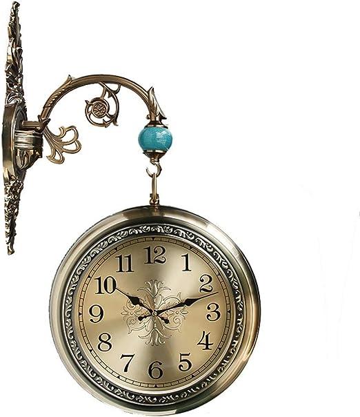 Relojes de pared De Doble Cara con Un Diámetro Exterior De Reloj Marco del Soporte Jardín -24.3Cm: Amazon.es: Hogar