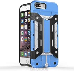 Cocomii Transformer Armor iPhone 8 Plus/7 Plus Funda Nuevo [Robusto] Incorporado Cartera Soporte Antichoque Caja [Militar Defensor] Case Carcasa for Apple iPhone 8 Plus/7 Plus (T.Blue/Silver)