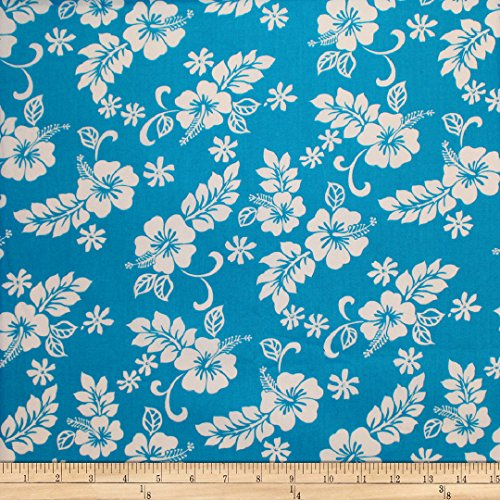 Trans-Pacific Textiles Hibiscus Mini Pareau Turquoise Fabric by The ()