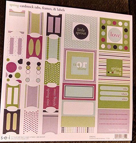 SEI 12x12 Sticker Sheet - Spring Cardstock Tabs Frames & Labels ()