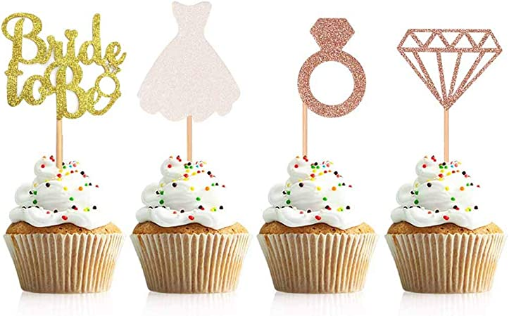 Bride To Be Glitter Cake Topper for Hen party Bridal Shower Gold Silver UK