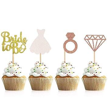 Miss Good Glitter Bride to Be Cake Topper con Rosa Dorada ...
