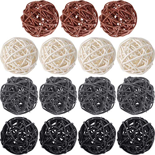 Yaomiao 15 Pieces Wicker Rattan Balls Decorative Orbs Vase Fillers for Craft, Party, Wedding Table Decoration, Baby Shower, Aromatherapy Accessories, 2 Inch (White Gray Black ()