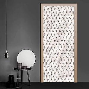 Door Stickers Shark, Aggressive Hungry Fishes Welcome Door Vinyl Decal Used on Wooden Closet Door 36 x 79 Inch