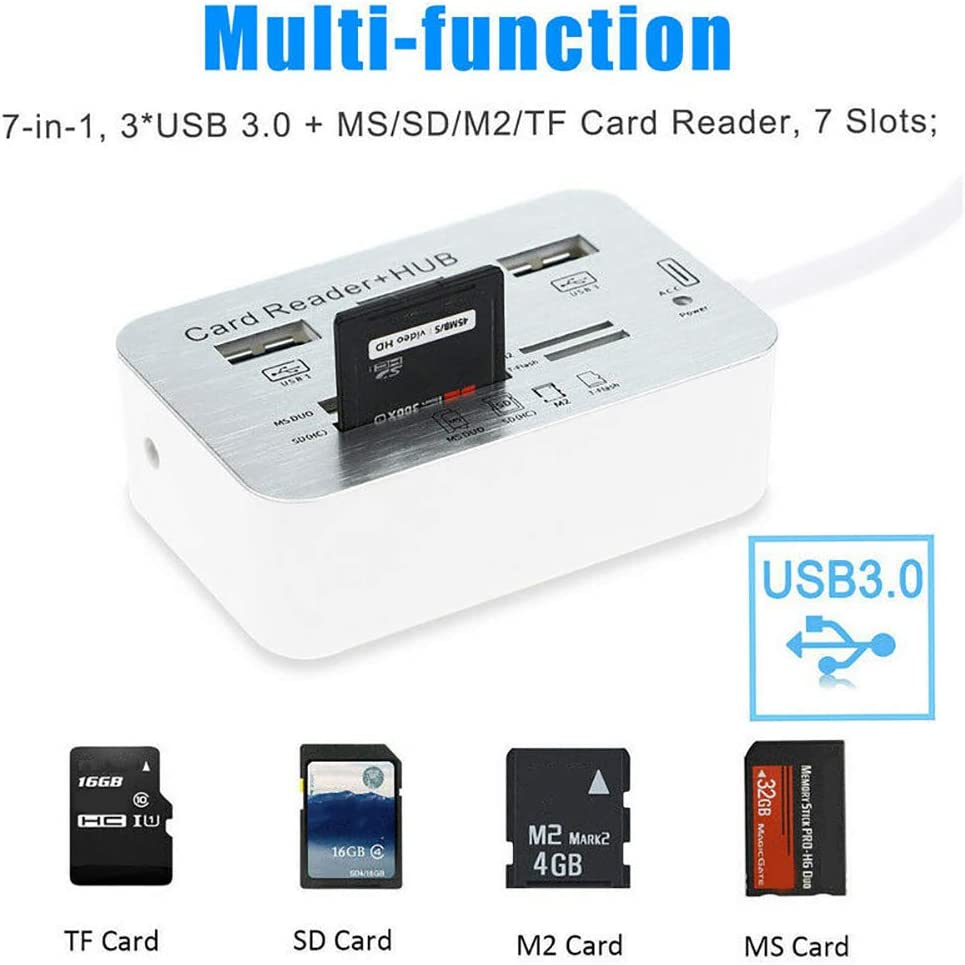 hudiemm0B Card Reader with Cable Multi-in-1 3 Port-s USB 3.0 High Speed Hub Adapter with MS SD M2 TF Card Reader