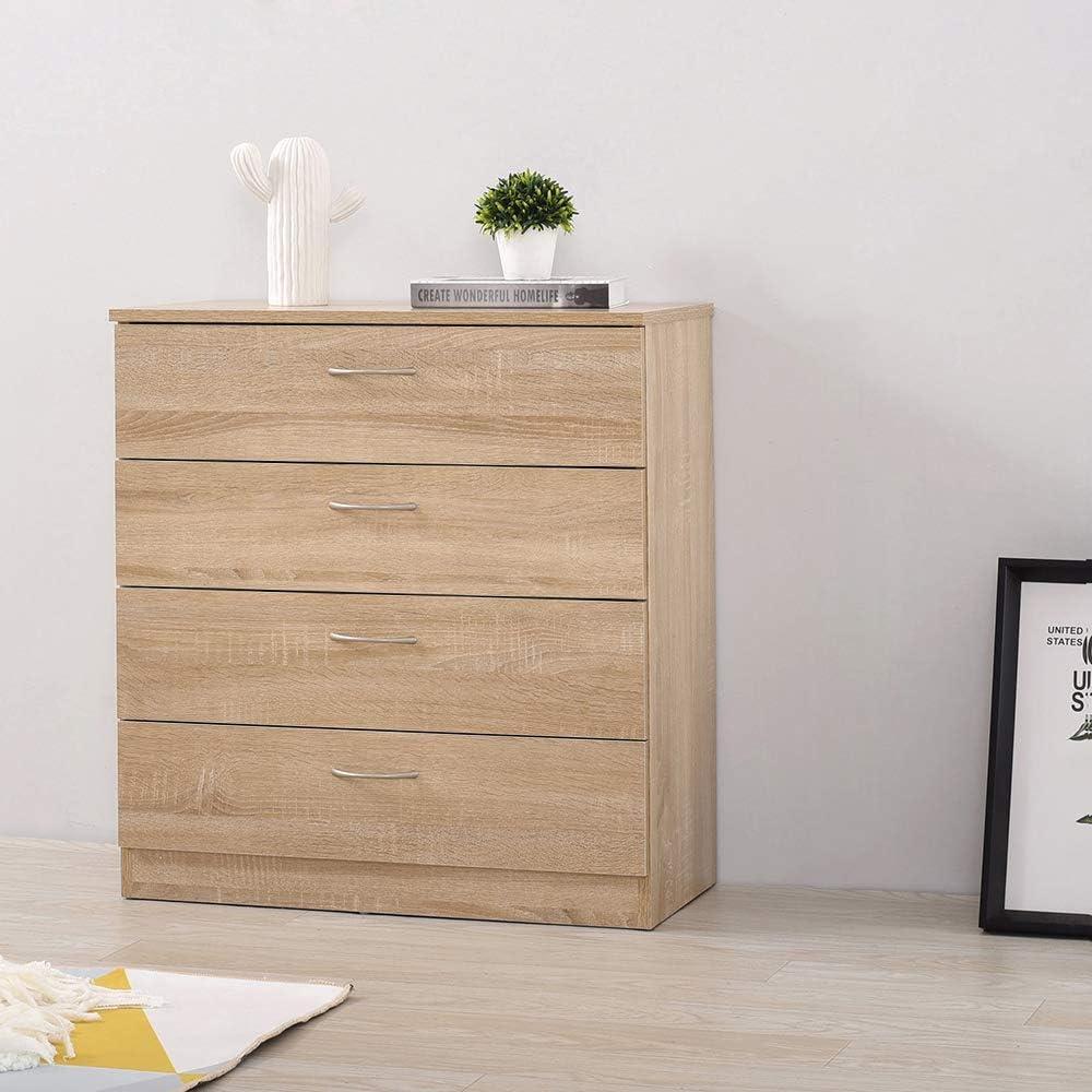plastica Cassettiera con 4 cassetti grandi bagno finitura in legno Keinode per camera da letto ufficio bianco maniglie argentate soggiorno corridoio cucina