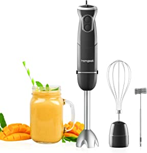 homgeek 500W Immersion Hand Blender 3 in 1, 6-Speed Electric Stick Handheld Blender with Turbo Function, Include Stainless Steel Whisk, Milk Frother Attachments, Black