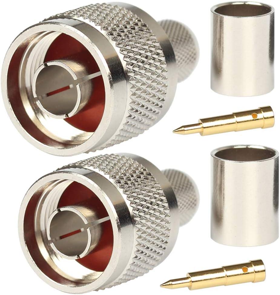 Paquete de 5 conectores tipo N macho engarzado en enchufe coaxial para LMR400 Belden 9913 50 Ohm cable coaxial RF de baja pérdida