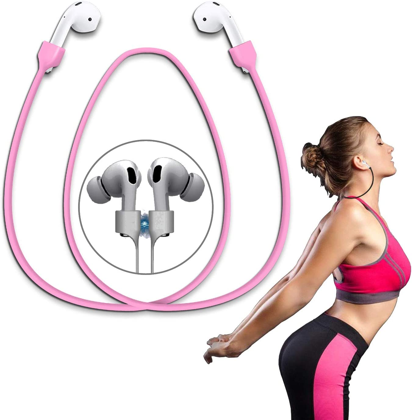 Airpods Strap Magnetic Super Strong Cord Anti-Lost Leash Sports String - Accessories for Airpods PRO/2/1(Pink)