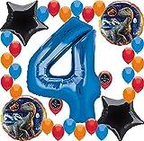 Jurassic World Fallen Kingdom Birthday Party Supplies Balloon Decoration Bundle (4th Birthday)
