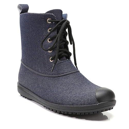 Tenthree Mujer Botas de Agua Botines Chelsea - Seguridad Calzado de Trabajo Durable Zapatos de Lluvia Altura del Tobillo Fácil de Limpiar Impermeable ...