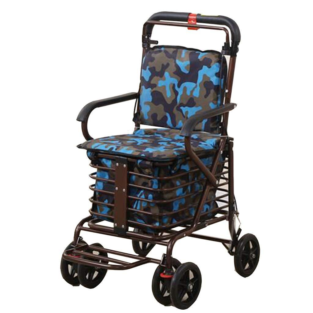 老人のトロリー買物車の携帯用歩行者の折る車椅子は食糧スクーターのギフトを買うために休憩を取ることができます100 Kg (Color : Blue, Size : 46*55*90cm) B07SD81NNQ Blue 46*55*90cm