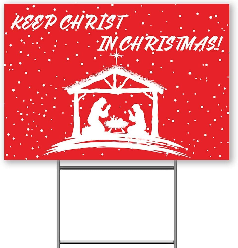 Revtronic Keep Christ in Christmas Yard Sign, Christmas Nativity Manger Scene Outdoor Decoration Lawn Sign, 18x12 Inches, 2-Sided UV Print Corrugated Plastic with Metal Stakes, Red
