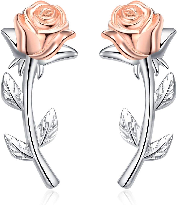 Climber Earring Rose Flower Ear Climber Earrings 925 Sterling Silver Ear Crawler Ear Sweep Birthday Gift Idea,climbing Earrings TEM007