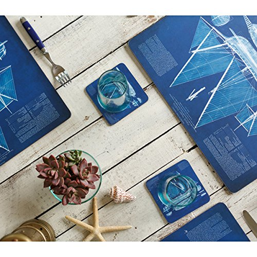 Placemats Table Mats Cork Backed Hard Placemats Wipe Clean Nautical Beach 12'' x 16'' Set of 4 by RockPaperFlowers (Image #2)