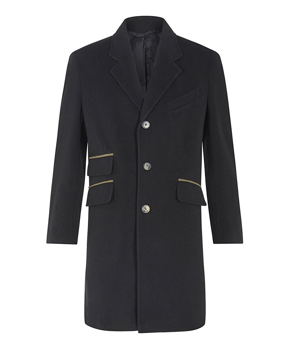 Manteau Anastasia en Laine pour Cachemire Noir Homme de Luxe FwApqzw