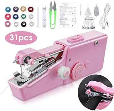 KKTECT Mini Máquina de Coser Portátil, 31 piezas Máquina de coser a mano eléctrica Máquinas de coser Adecuadas para bricolaje Ropa para el hogar Cortina de tela y uso en viajes, Como