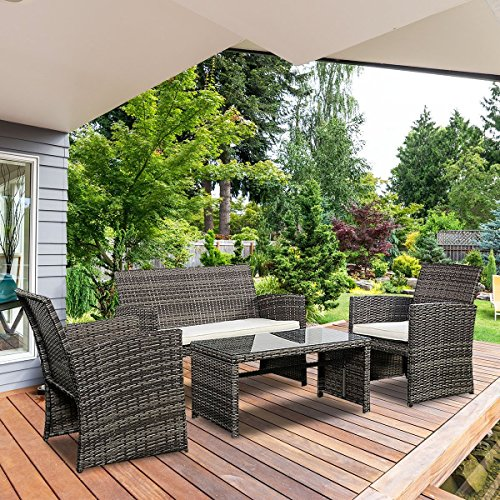 Goplus 4 PC Rattan Patio Furniture Set Garden Lawn Sofa Cushioned Seat Wicker Sofa (Mix Gray) by Goplus (Image #2)