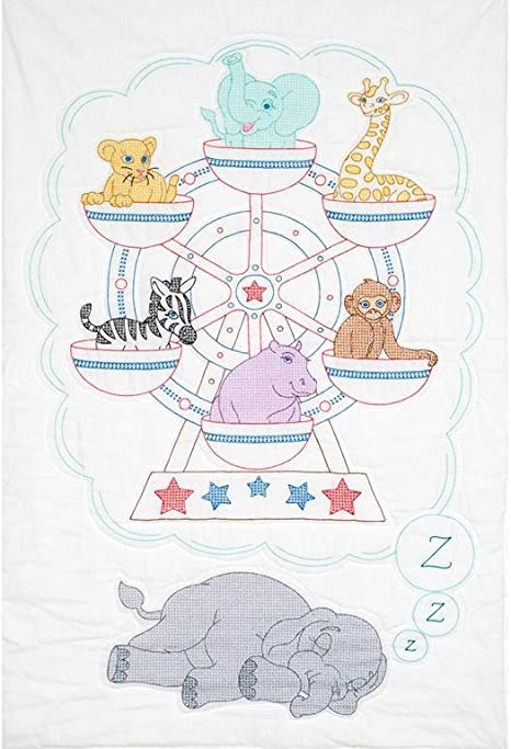 """1 Jack Dempsey /""""Ferris Wheel/"""" Stamped Cross-Stitch-Embroidery Crib Quilt Top"""