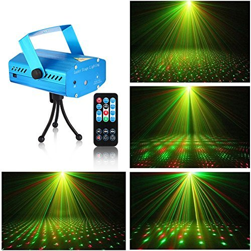 Litake LED Projector Laser Lights, Mini Sound Activated Auto Flash Stage Lights for Disco DJ Club Bar Party Wedding Show Strobe Light with Remote Control (Mini Stage Laser Lighting)