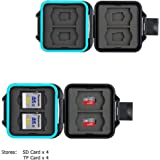 JJC Memory Card Case Water-Resistant Carrying Slim Holder Storage for 4 SD SDHC SDXC + 4 Micro SD TF Cards with Card Removal Tool
