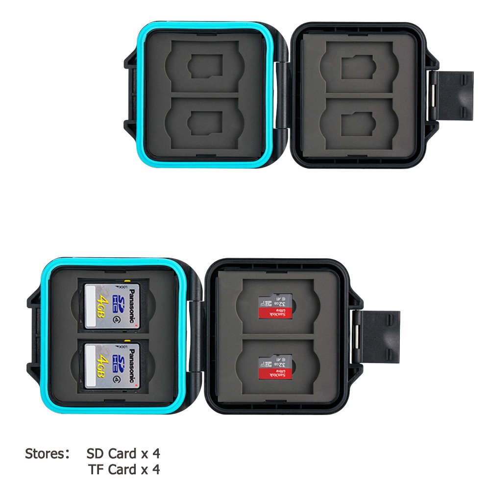 JJC Memory Card Case Water-Resistant Carrying Slim Holder Storage for 4 SD SDHC SDXC + 4 Micro SD TF Cards with Card Removal Tool product image
