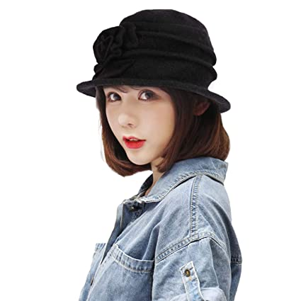 Image Unavailable. Image not available for. Color  IPENNY Womens Girls Warm  Wool Cloche Round Hat Wrinkled Floral Fedora Bucket ... 0b21a67e66bb