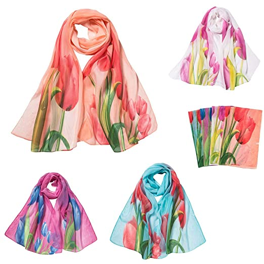 ce183ff2ca3f1 Shawl Wrap Scarf for Women Fashion Chiffon Scarves Tulip Printing Lightweight  Ladies Scarves and Wraps Shawls at Amazon Women's Clothing store: