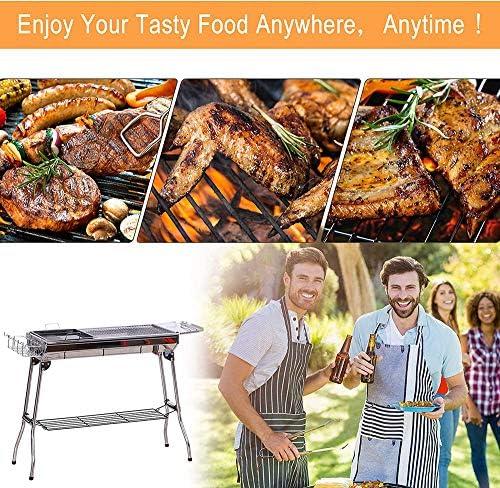 PHASFBJ Barbecue Portable, Barbecue à Charbon avec BBQ Grille en Acier Inoxydable BBQ Pliable Barbecue pour 5-10 Personnes Camping Pique-Nique Extérieur Jardin