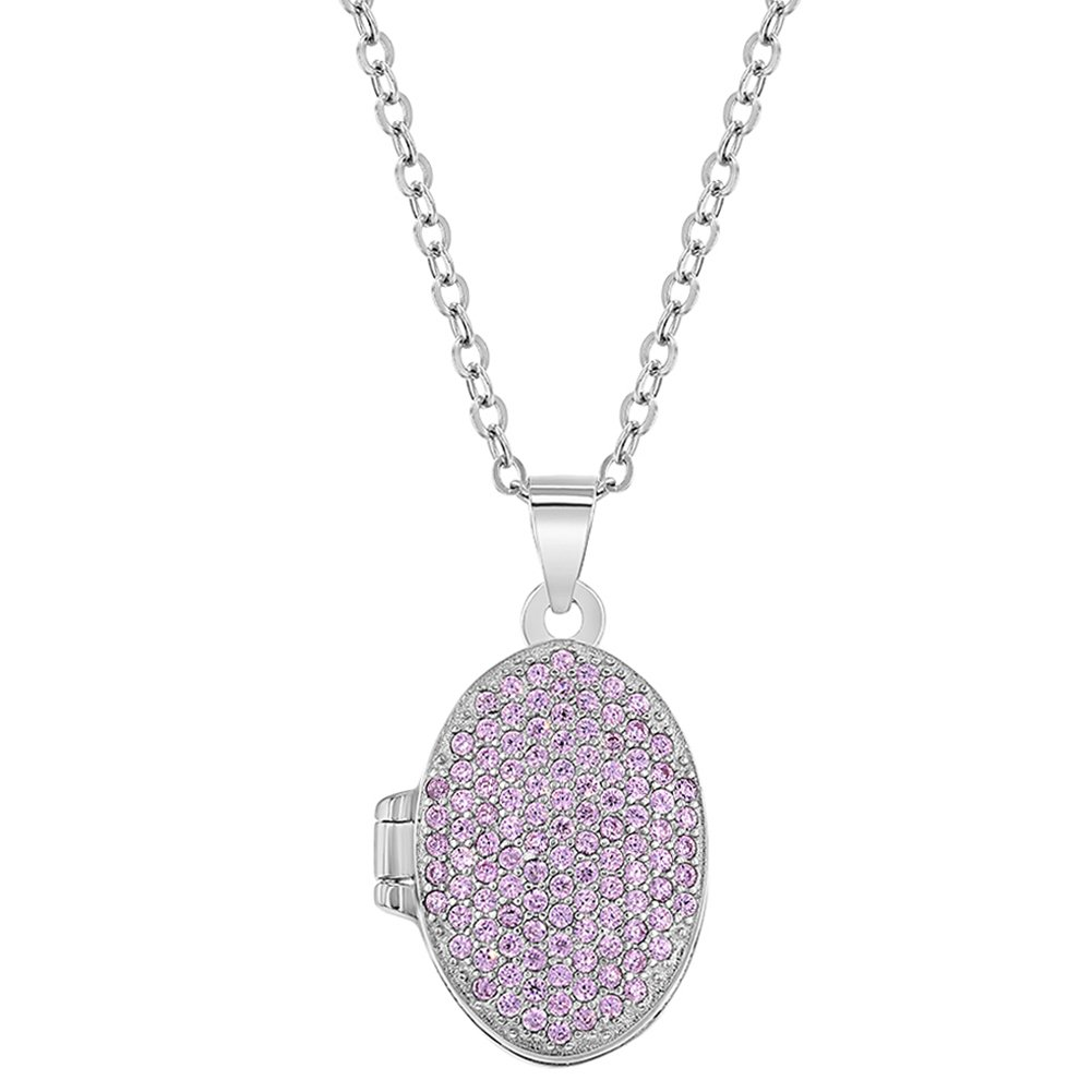 In Season Jewelry 925 Sterling Silver Cubic Zirconia Pink Locket for Girls Oval Photo Necklace 16' SS-09-00042