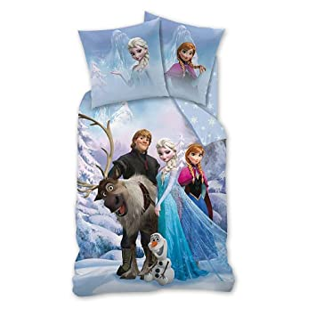 Biber Kinder Bettwäsche Frozen Eiskönigin Sven Blau 135 X 200 80 X