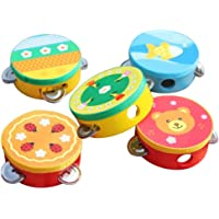 guoYL26sx Baby Toys Cartoon Wooden Handheld Tambourine Jingle Percussion Musical Instrument Kids Toy - Random Style