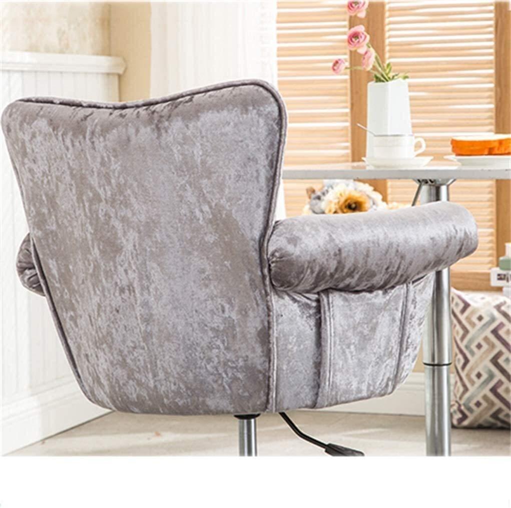 Hocker: Student flanell rullstol, dator till hemmet stol, stål fot sovrum soffa stol, huvudbekväm stol bak, med nav- och vridfunktioner.45 x 45 x 56 cm, Gray on Pulleys