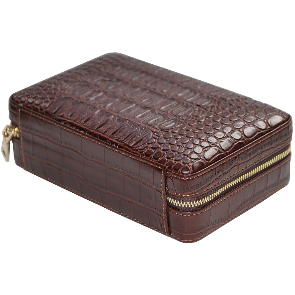 Coh Leather Travel Case with Cutter and Lighter - 4 Cigars - Including Humidification Kit - Color: Brown by H&H (Image #2)
