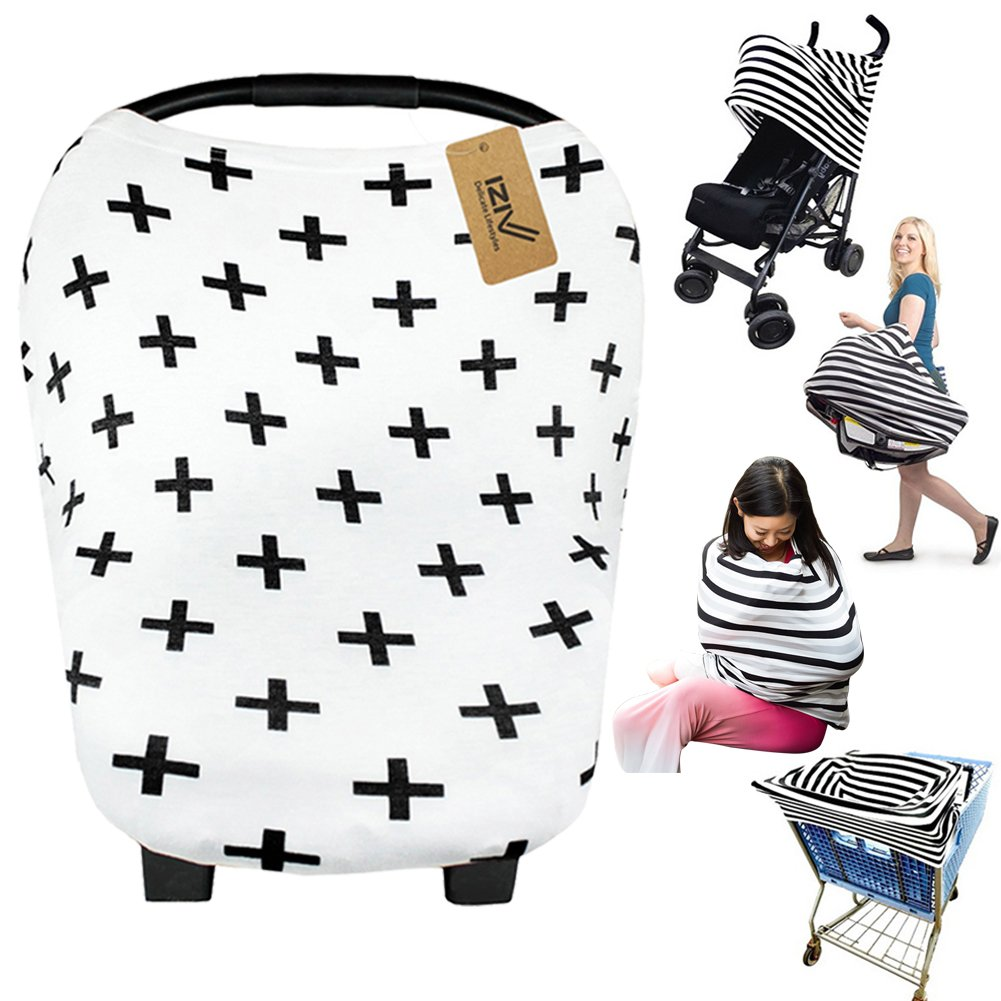 iZiv Ultrasoft 4-in-1 Multi-use Baby Stretchy Cover Car Seat Canopy/Nursing Cover/Shopping Cart Cover/Infinity Scarf Perfect Gift for Baby (Color-2) Dlife FB0283