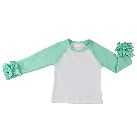 4a074382f VduanMo Toddler Girls Icing Ruffle Shirt Long Sleeve Raglan Shirt Small  Aqua/White