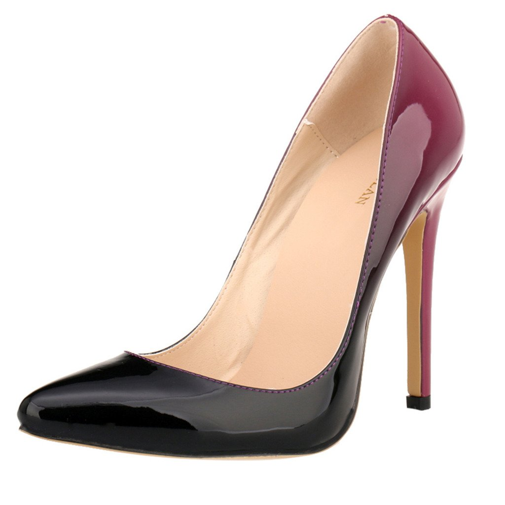 ZriEy Women Sexy Pumps Closed Pointed Toe Stiletto High Heels Patent Leather for Wedding Party Dress Shoes Double Color Burgundy size 8.5