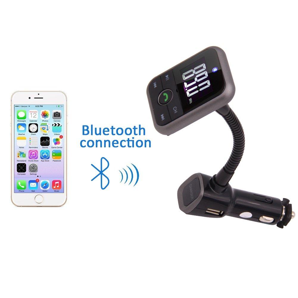 Wireless Bluetooth FM Transmitter Car Kit MP3 Player Support SD USB A2DP with LCD Remote FM Modulator for iPhone Samsung Suitable for 12V-24V car Charging Hands Free EGood CO BT67H-aF LTD
