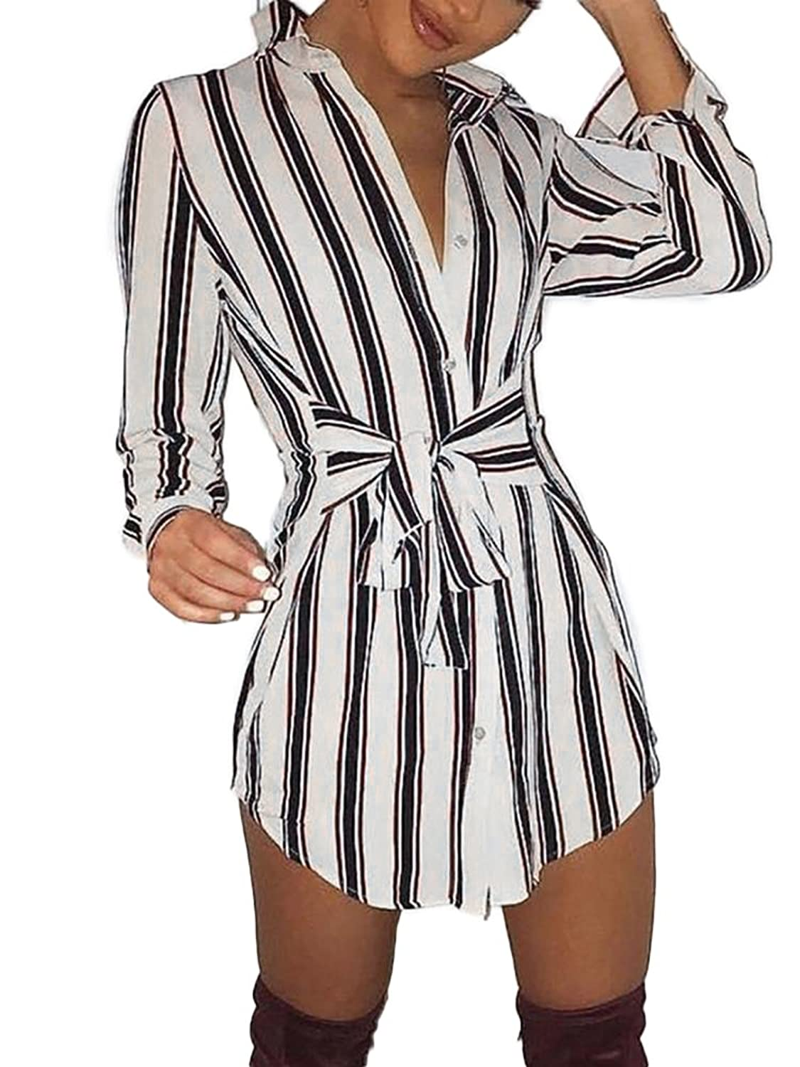 252fb8ee630 Online Cheap wholesale Ninimour Womens Self-Belt Stripe Print Casual Shirt  Blouse Dress Dresses Suppliers