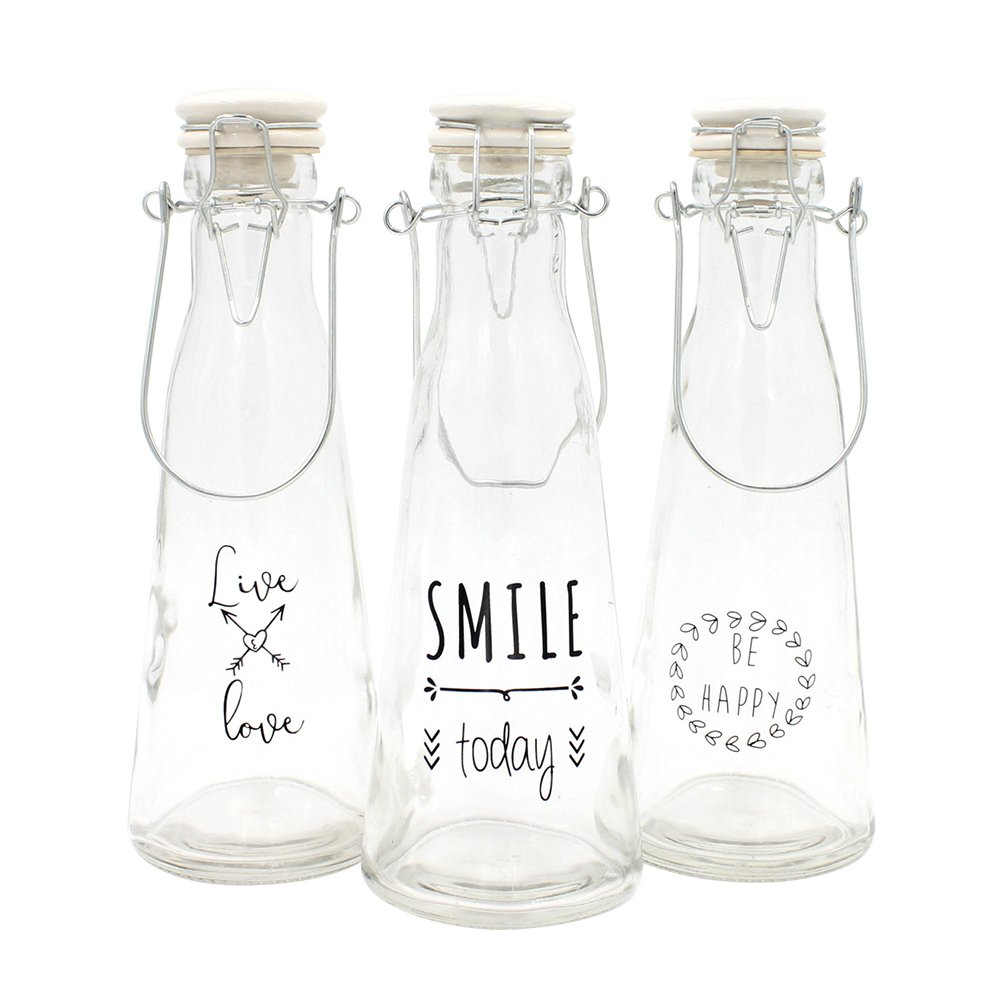 WAX DESIGN - Set de 3 botellas mensajes con cierre hermético ...