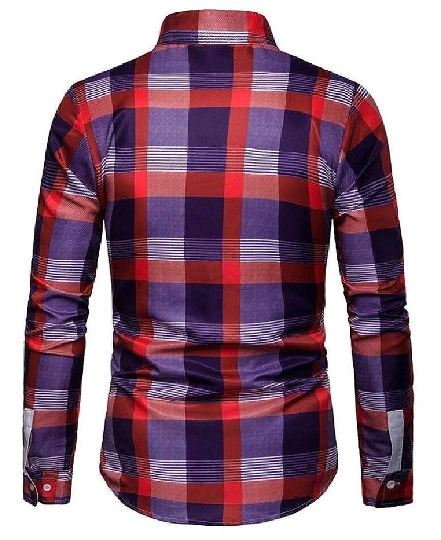 Alion Mens Mandarin Collar Cotton Plaid Print Button Down Dress Shirt