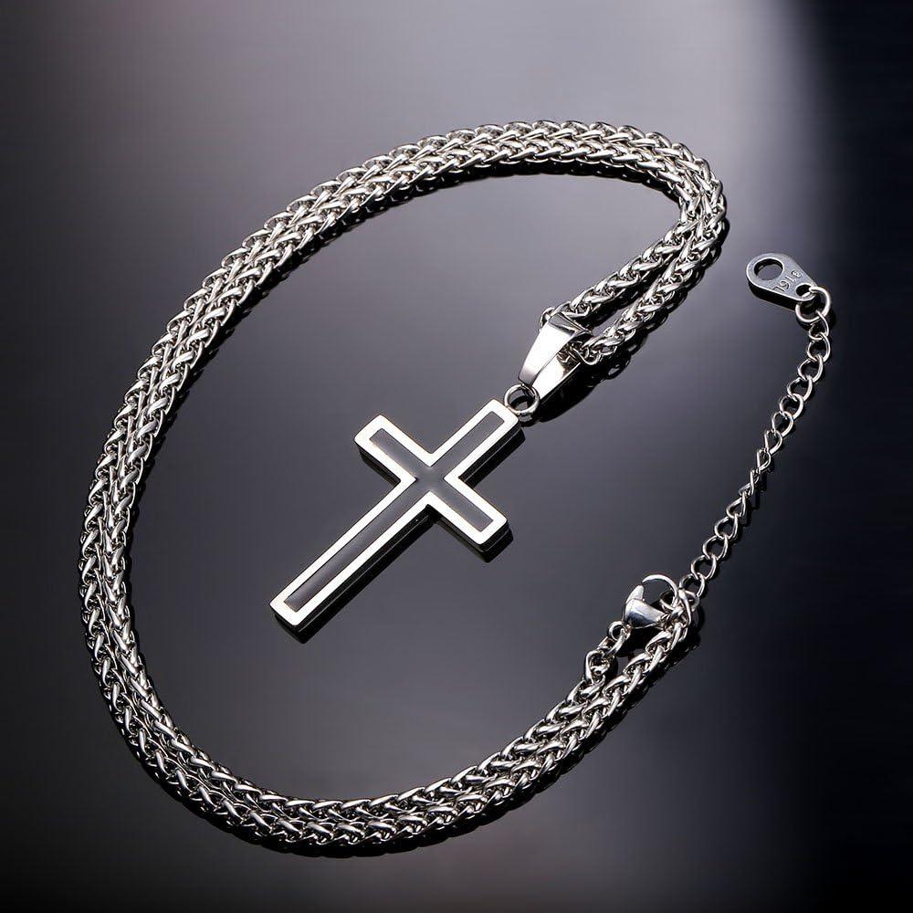 U7 Collier Homme Croix Simple Cha/îne et Pendentif Chr/étien Bijoux en Acier Inoxy et /Émailli/é Noir pour Gar/çon 4 Choix Disponible
