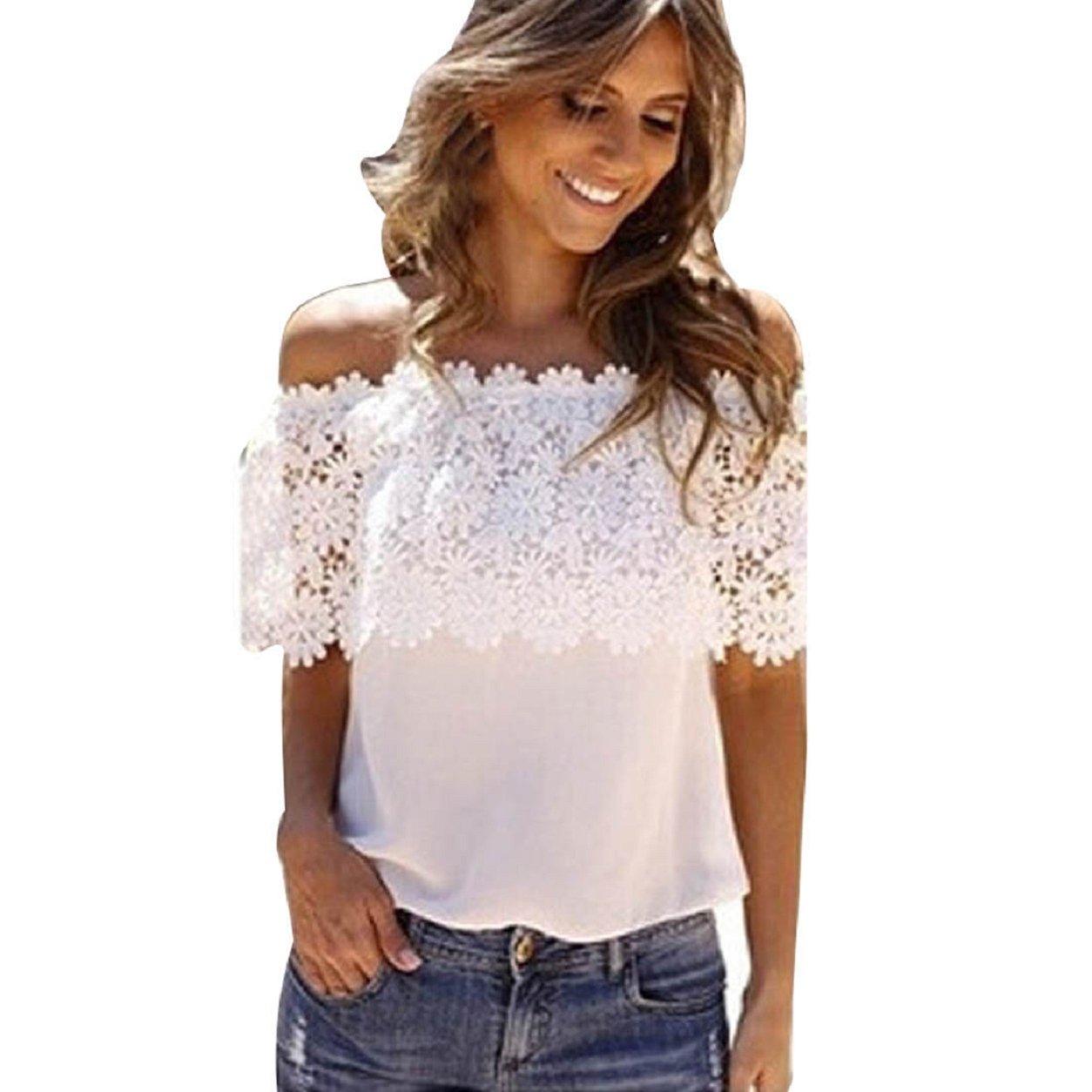 Malloom® moda Summer encantador mujer casual encaje de ganchillo camisas gasa Blusas Tops: Amazon.es: Ropa y accesorios