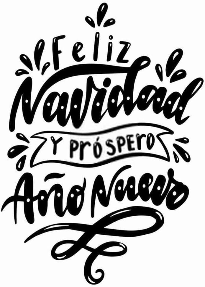 DIY 5D Diamond Painting Kits Feliz Navidad Y Prospero Ano Nuevo Merry Christmas Happy New Year in Spanish Full Drill Painting Arts Craft Canvas for Home Wall Decor Full Drill Cross Gift 20X16 Inch