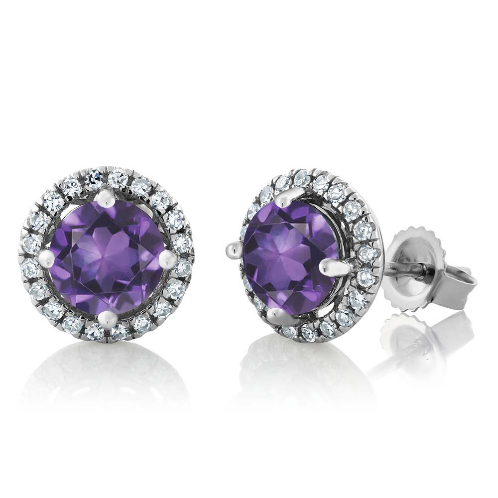 14K White Gold Diamond Halo Earrings set with 1.61 Ct Round Purple Amethyst