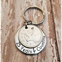 1993 Silver Quarter for 25th Anniversary 25 Years & Counting Key Chain Gift with a Twenty-five Cent Piece