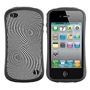 """Hypernova Slim Fit Dual Barniz Protector Caso Case Funda Para Apple iPhone 4 / iPhone 4S [Líneas Patrón Ilusión Blanco Negro""""]"""